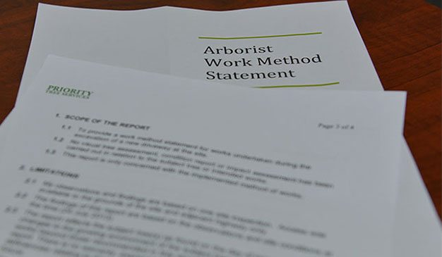 arborist work method statement of priority trees